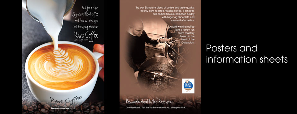 Rave Coffee advert and leaflet design